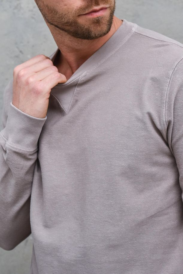 Men's cotton basic sweatshirt mud. DF 7101FANGO