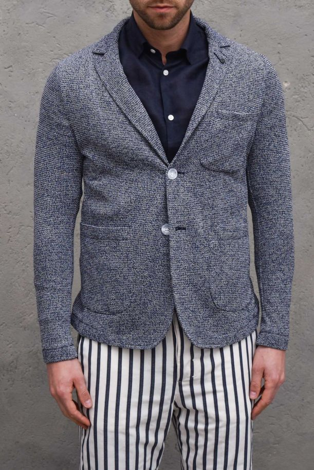 Men's knitted jacket worked blue. GA156SS1BLU
