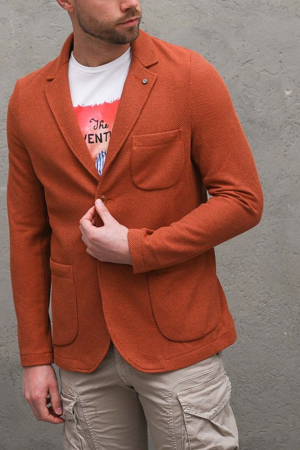 Men's Forte knit jacket earthenware. GA157SS1COCCIO