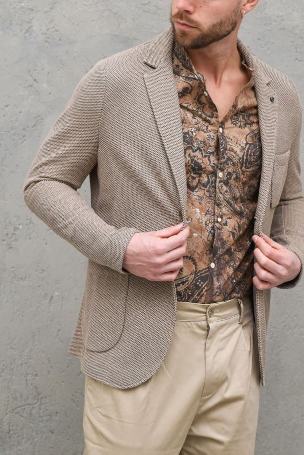 Men's knitted jacket Forte mud. GA157SS1NATURALE