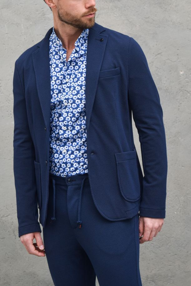 Men's micro worked fancy jacket blue. GA175SS1BLU