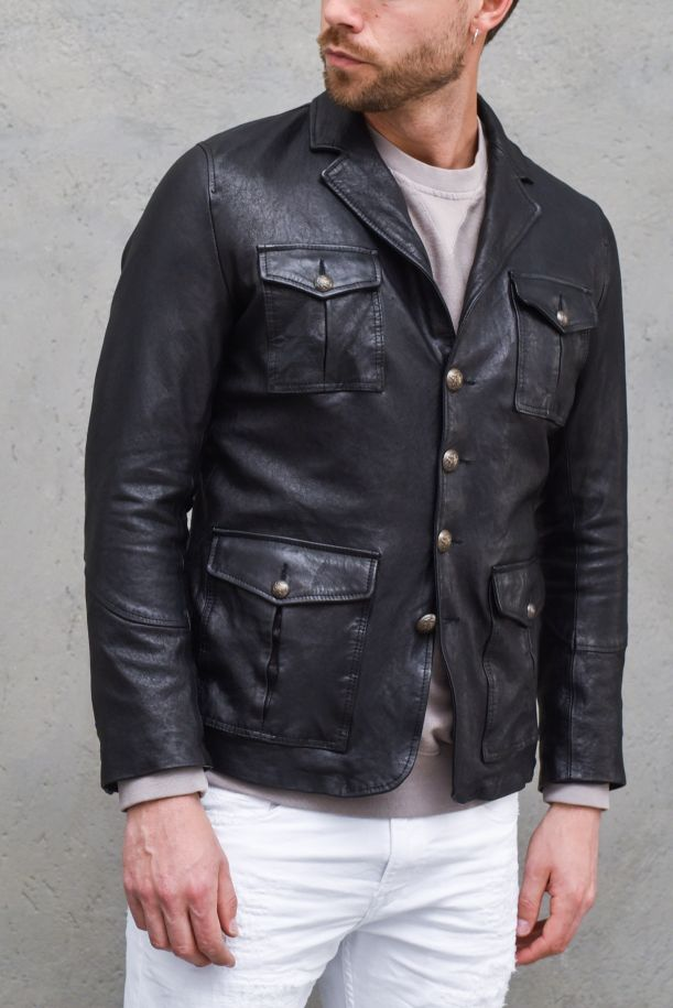 Men's real leather jacket 4 pockets black. 2003BNERO