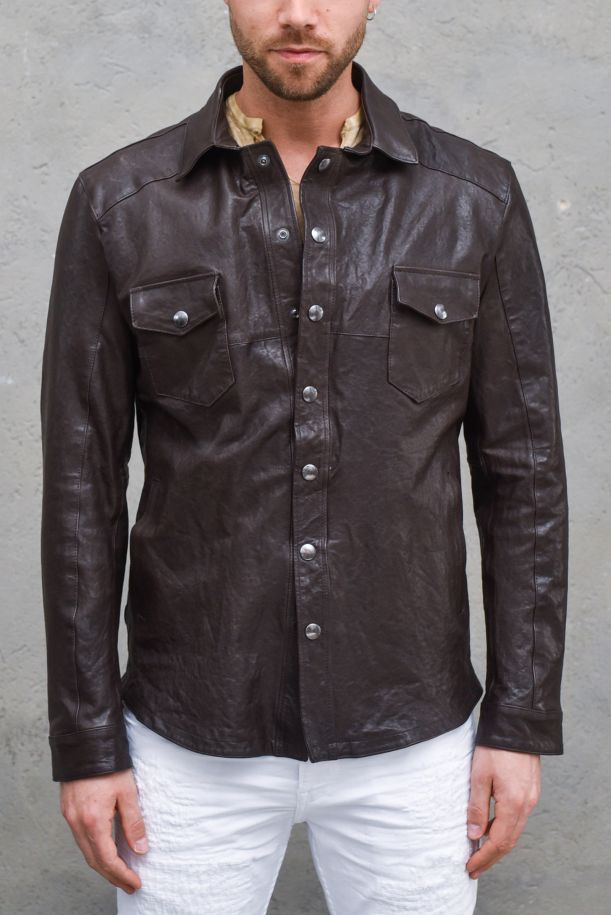 Men's genuine leather jacket shirt style brownie. 957MORO