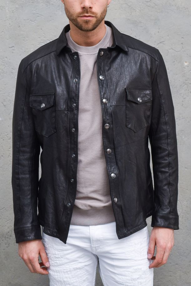 Men's genuine leather jacket shirt style black. 957NERO