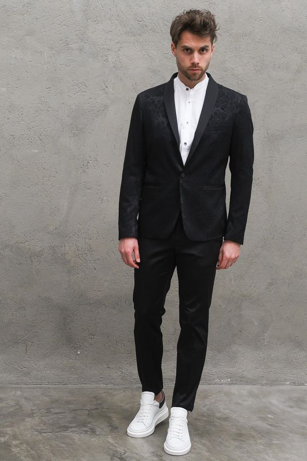 Men's damask jacket black. G008GNERO