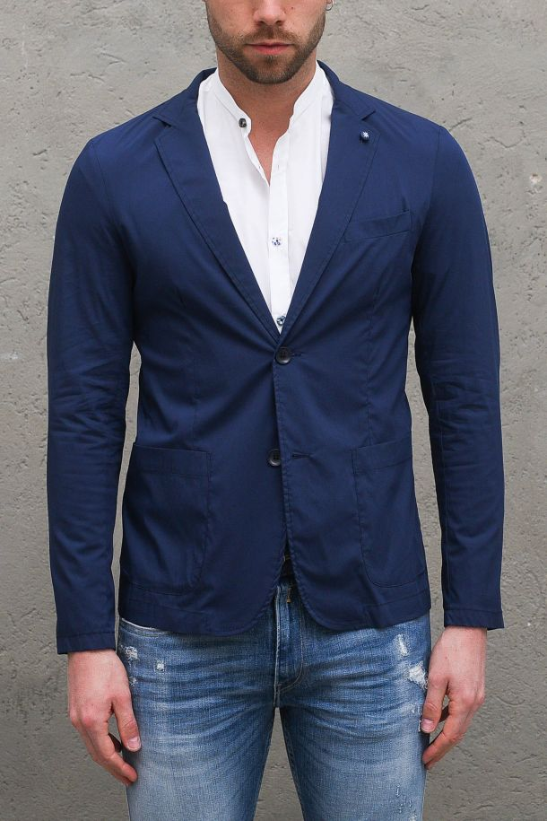 Men's cotton jacket with application blue. R0131BLU