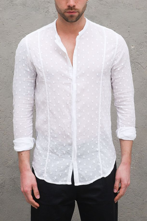 Men's corean embroidery shirt white. SIGHI1BIANCO