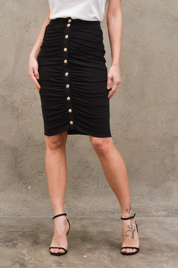 Women's long skirt with buttons black. GBD8594NERO