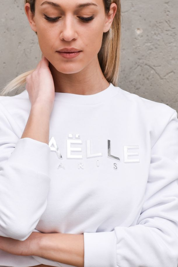Women's front knot sweater white. GBD8811BIANCO