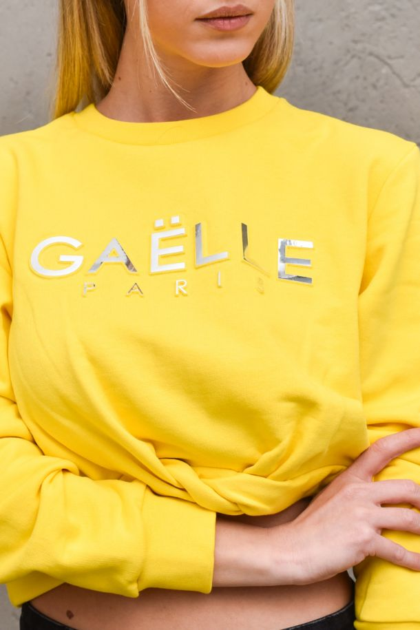 Women's front knot sweater yellow. GBD8811GIALLO