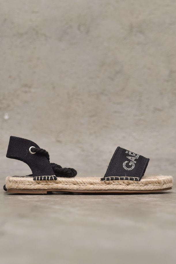 Women's espadrille shoes with logo strass black. GBDS2311NERO