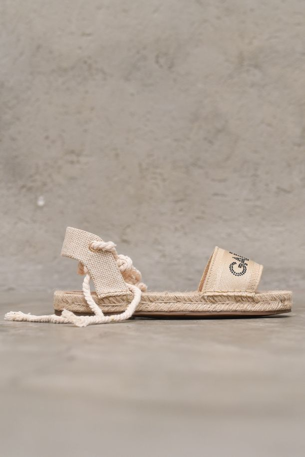 Women's espadrille shoes with logo strass sand. GBDS2311SABBIA
