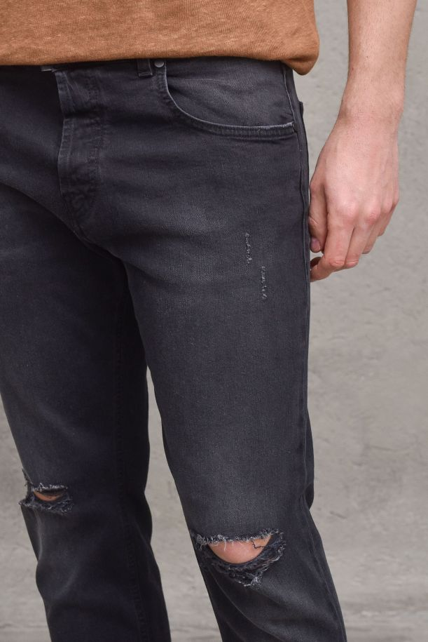 Men's trousers jeans vintage destroyed black. GBU4541NERO