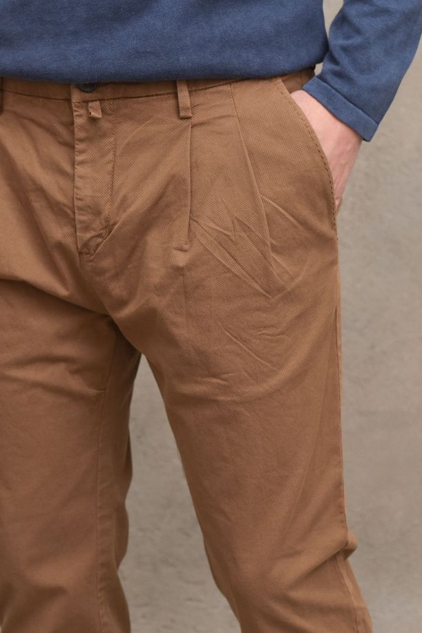 Men's trousers microworked tobacco. GL1004PTABACCO