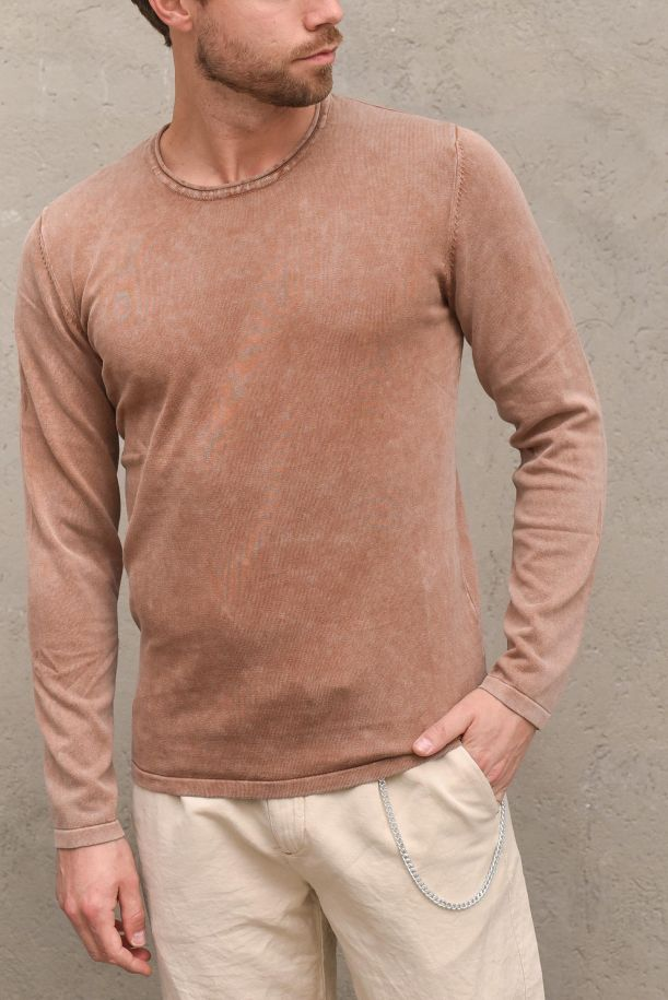 Men's sweater cold dyed tobacco. GL33357TABACCO
