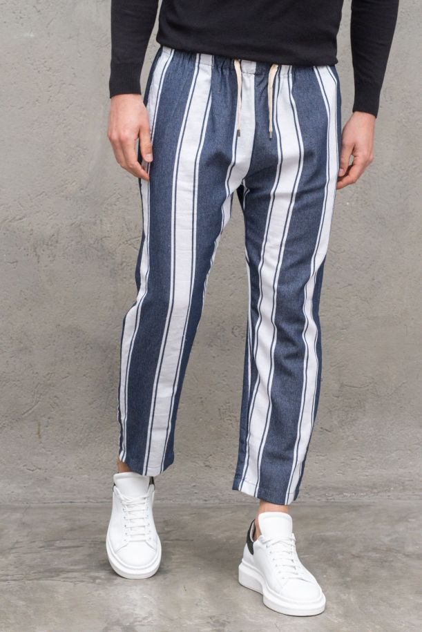 Men's macro stripes trousers with laces blue white.