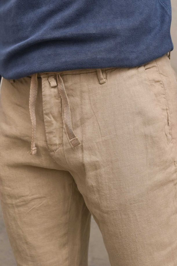 Men's trousers with laces beige. MICHIGAN-S21BEIGE