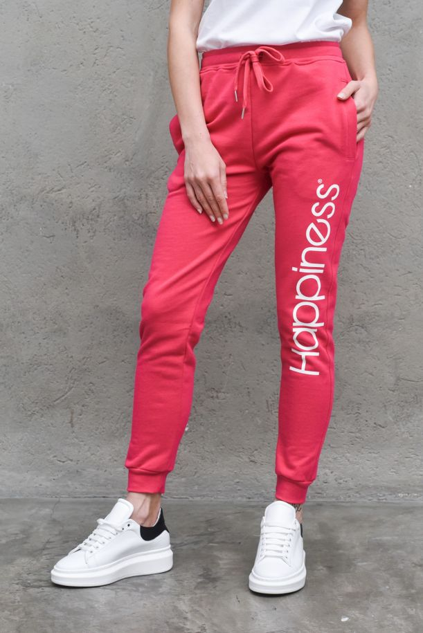 Women's fleece trousers with logo pink. CLASSIC_HAP2PINK