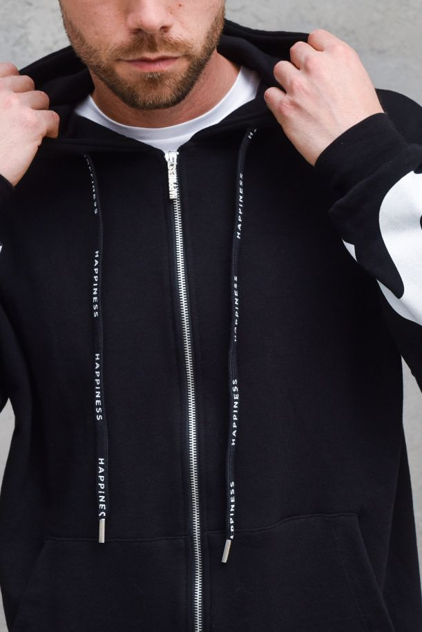 Men's hooded sweatshirt big logo black. HAPPY_BIGNERO