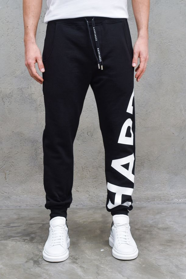Men's fleece trousers with big logo black. WALKER_BIGNERO