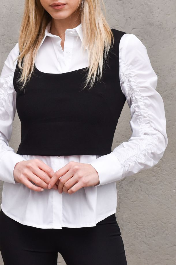 Women's shirt white and top black. C9990003LBIANCO/NERO