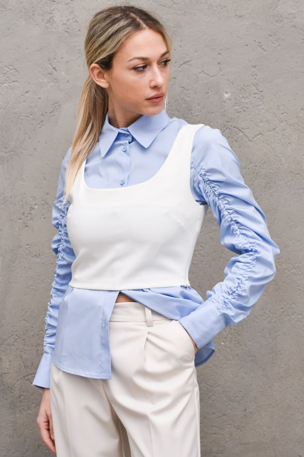 Women's shirt light blue and top white. C9990003LCELESTE/BIANCO