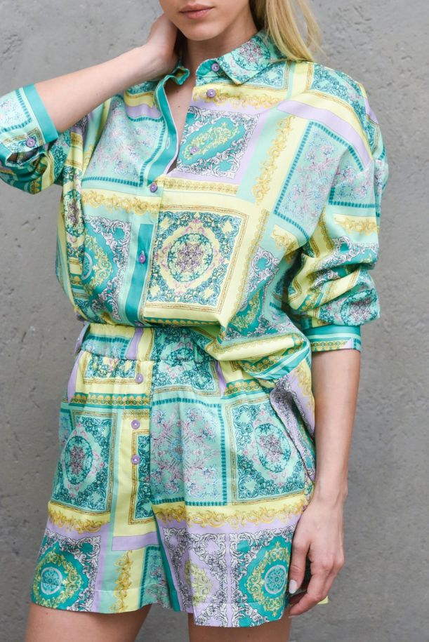 Women's fancy shirt with buttons green yellow. C9990068VERDE/GIALLO