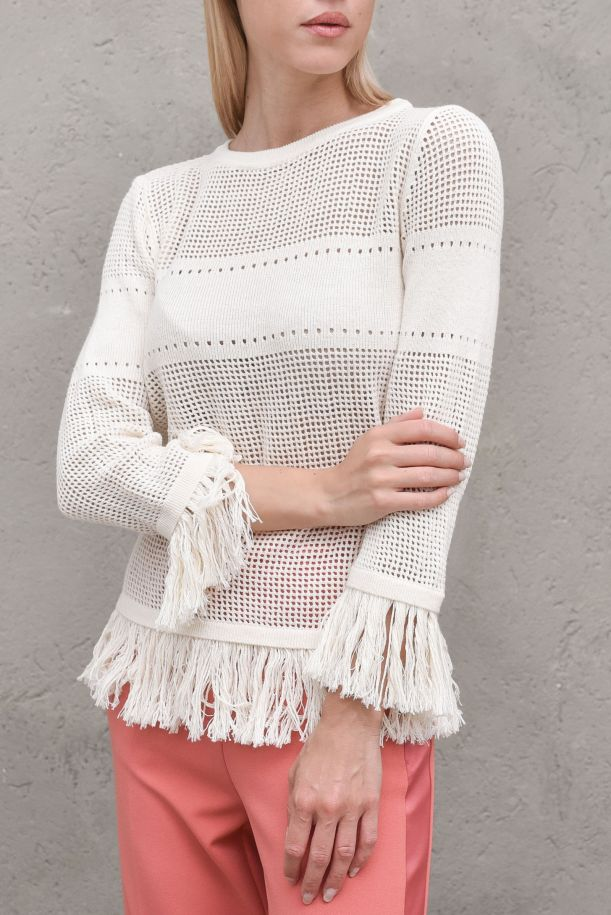Women's perforated sweater with fringes cream. M68881A414PANNA