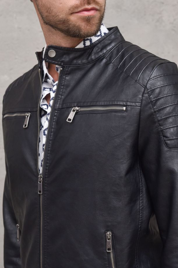Men's eco leather jeacket biker black. ZMG 8128NERO