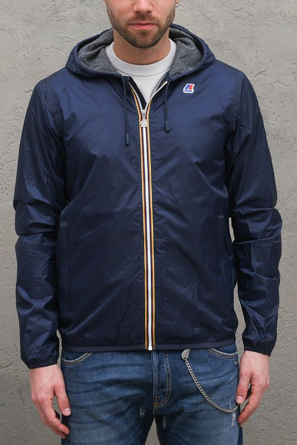 Men's jacket waterproof windproof with logo blue. K007A10JACQUES NYLON JERSEYBLUE DEPHT