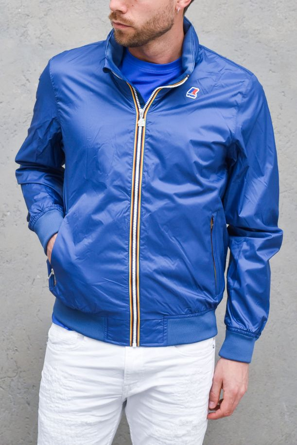 Men's waterproof jacket with logo blue. K009FN0AMAURY NYLON JERSEYBLUE DK RIVIERA