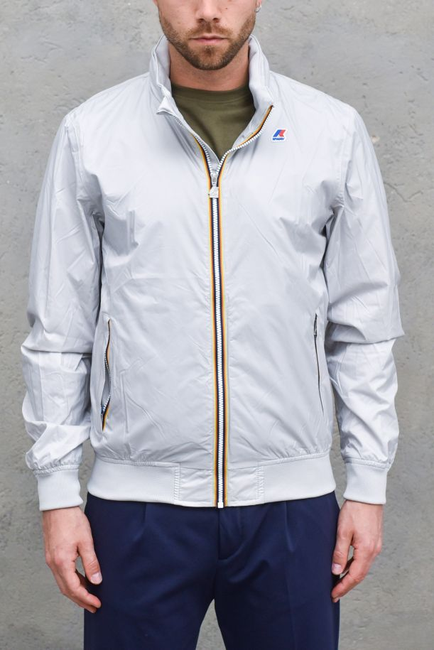 Men's waterproof jacket with logo ice. K009FN0AMAURY NYLON JERSEYGREY MD