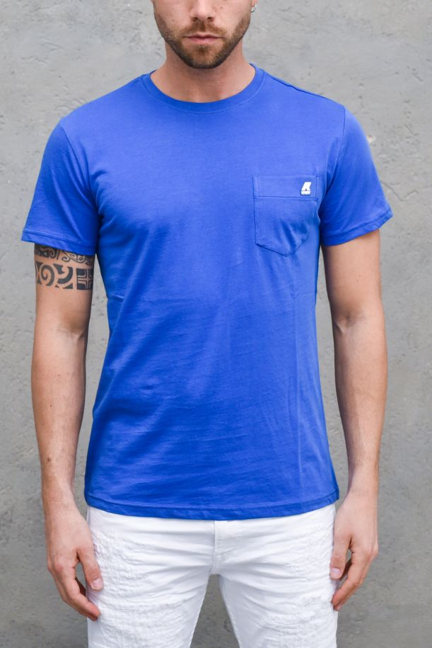 Men's roundneck t-shirt with mini logo royal. K00AI30SIGURBLU ROYAL