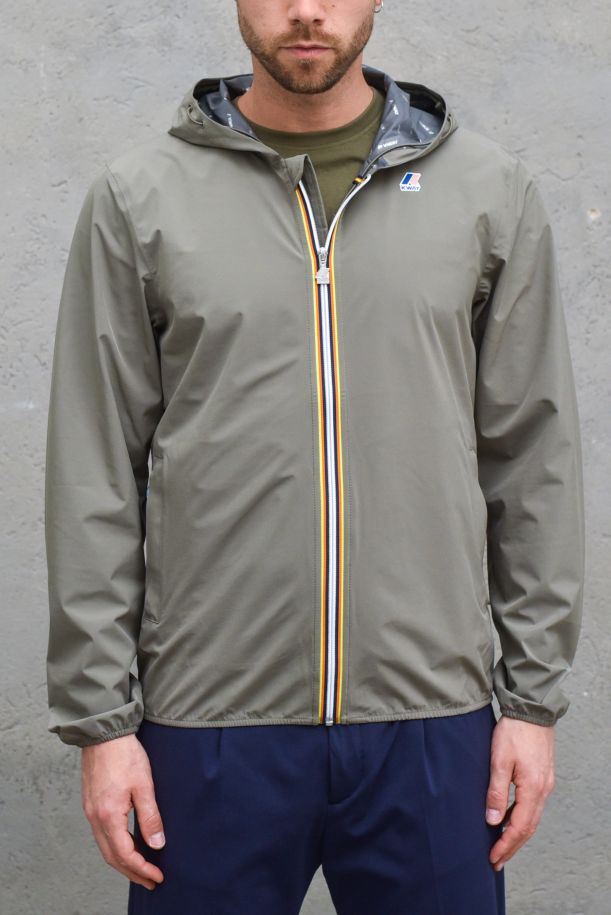 Men's technical jacket with loge olive. K00BBV0JACQUES STRETCH DOTGREEN DK OLIVE