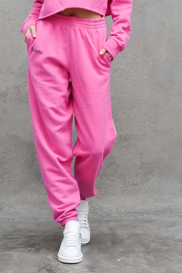 Women's fleece trousers with logo stamp pink. SDK200PINK