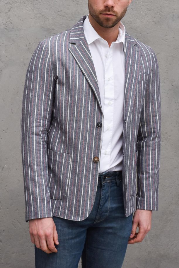 Men's vertical pinstripe jacket with pockets grey blue. BEA-ML80BLU GRIGIO