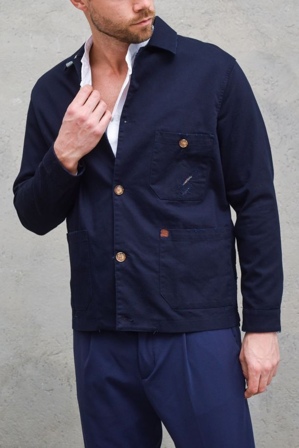 Men's jacket with patchworks and tears blue. BUD-CM21BLU