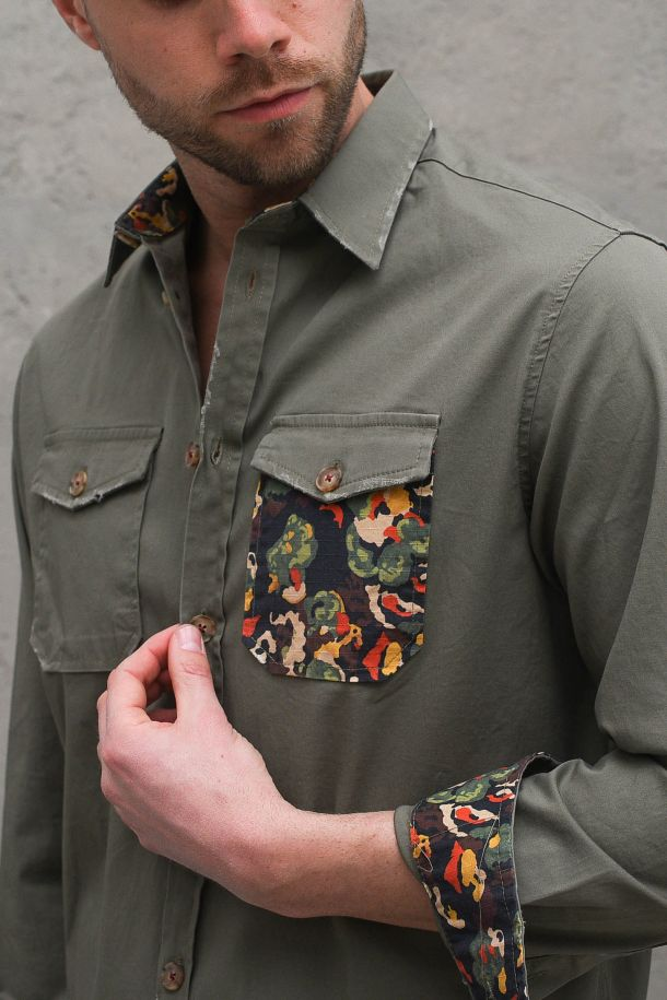 Men's floral applications jacket military green.