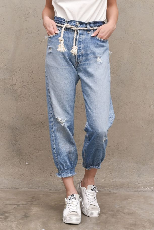 Women's jeans trousers highwaist with rope and studs blue. POLSINODENIM