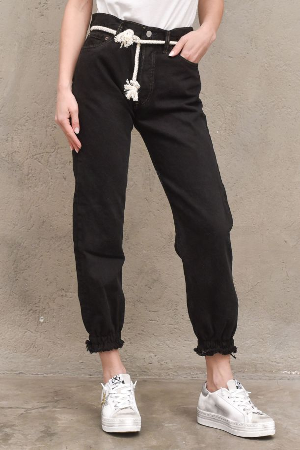 Women's jeans trousers highwaist with rope and studs black. POLSINONERO