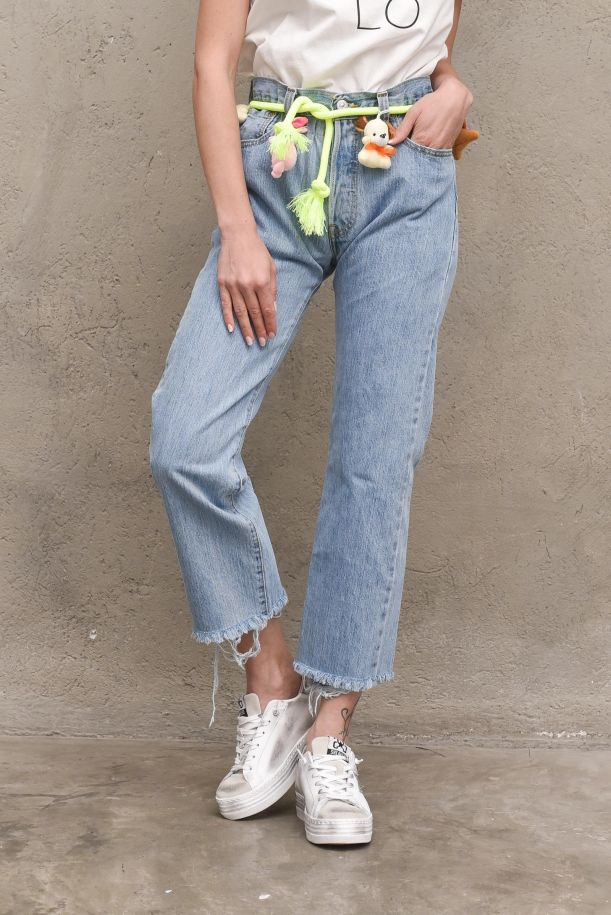 Women's jeans trousers with muppets blue. PUPAZZIDENIM CHIARO