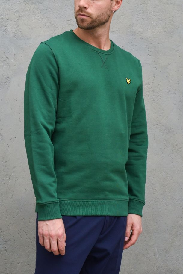 Men's roundneck sweatshirt embroidered logo green. ML424VTRENGLISH GREEN