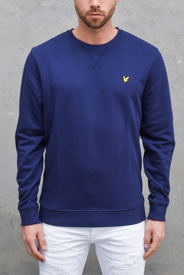Men's roundneck sweatshirt embroidered logo navy. ML424VTRNAVY