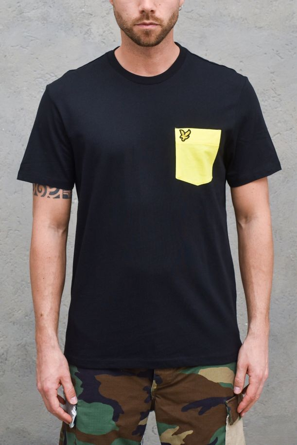 Men's t-shirt with pocket embroidered logo black. TS831VOGJET BLACK/BUTTERCUP YELLOW