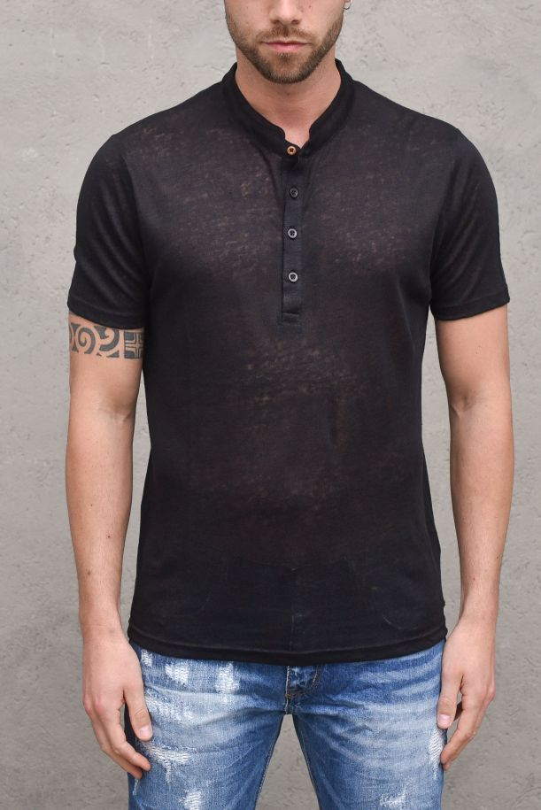 Men's linen t-shirt seraph black. MK991051NERO