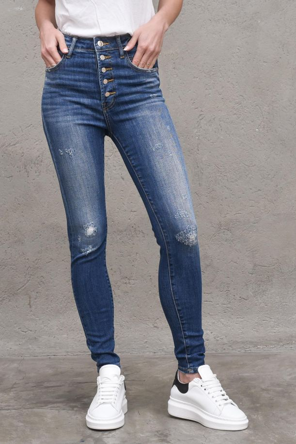 Women's highwaist jeans trousers with buttons. EVA BADENIM