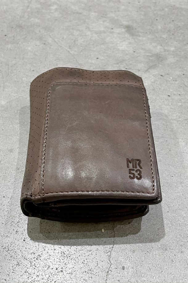 Men's leather perforated wallet double coin and card holder brown. MRS211P156MORO