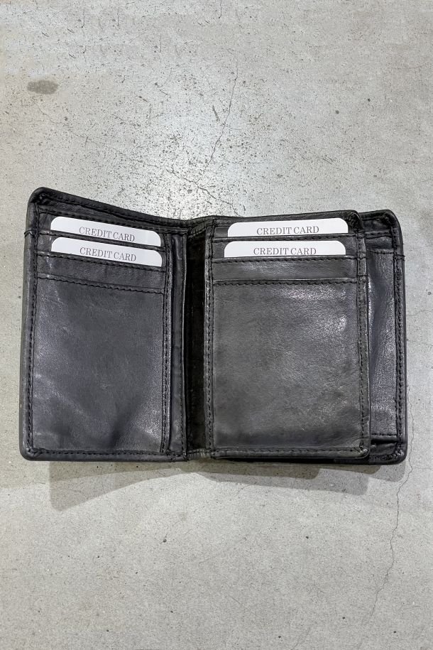 Men's leather perforated wallet double coin and card holder black. MRS211P156NERO