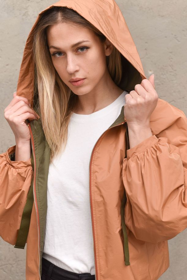 Women's short jacket hooded with laces brown. 2170MARRONE