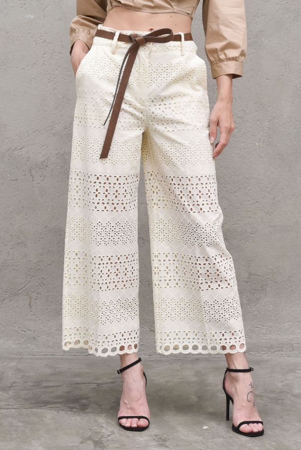 Women's perforate palazzo trousers with belt cream. 4203CREMA